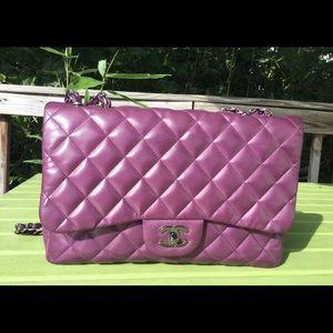 Chanel purple jumbo classic flap silver hardware